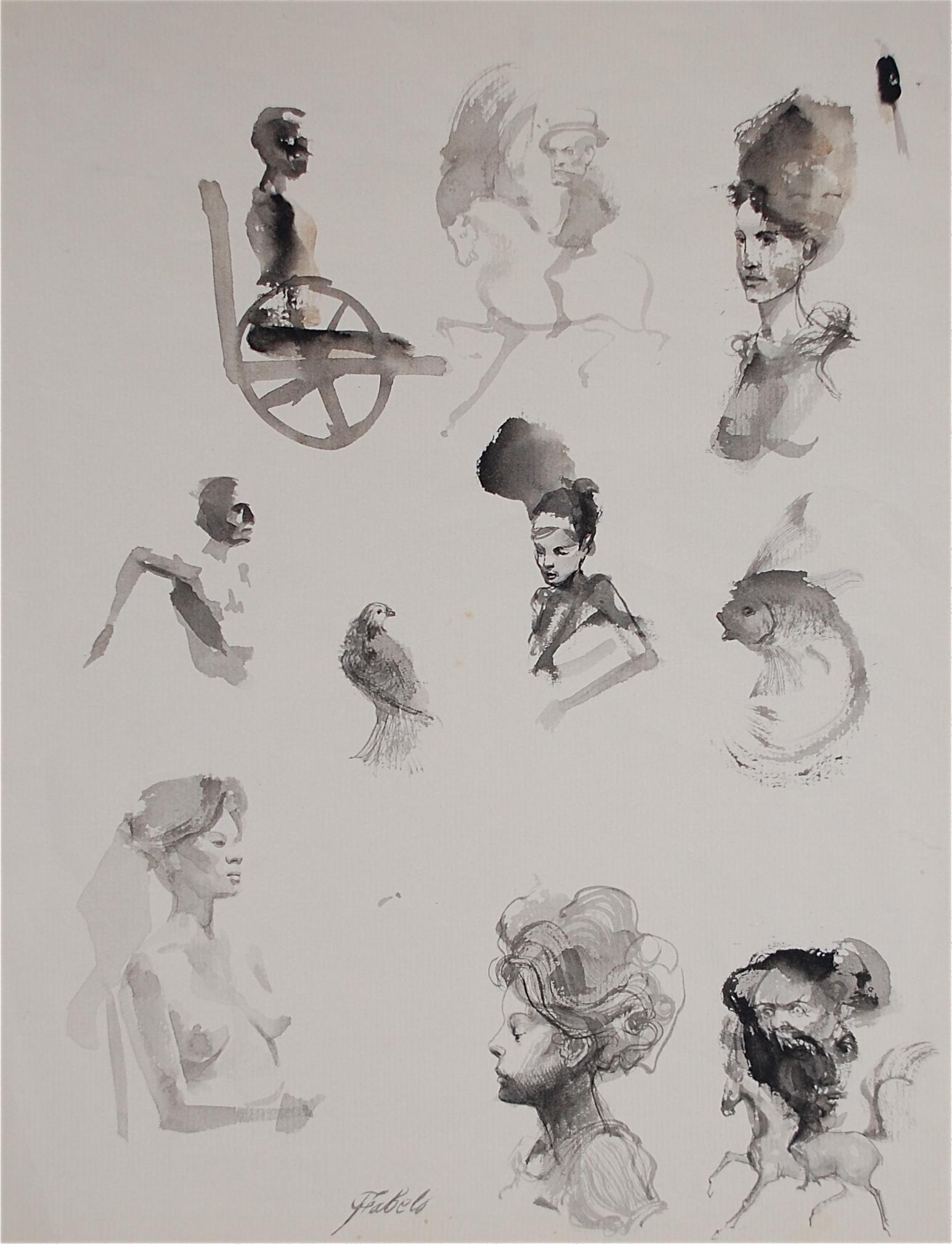 Roberto Fabelo 1980  - Retratos Locos